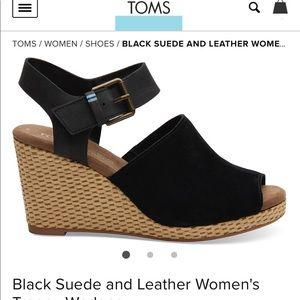 TOMS black suede wedges